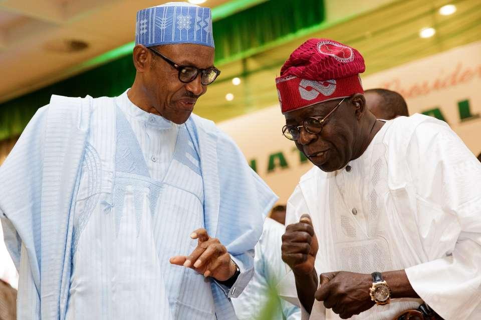 Tinubu with President Muhammadu Buhari at a Political Party Function