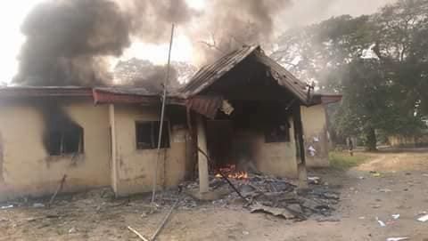 Photos: INEC office in Ughelli, Delta state set on fire
