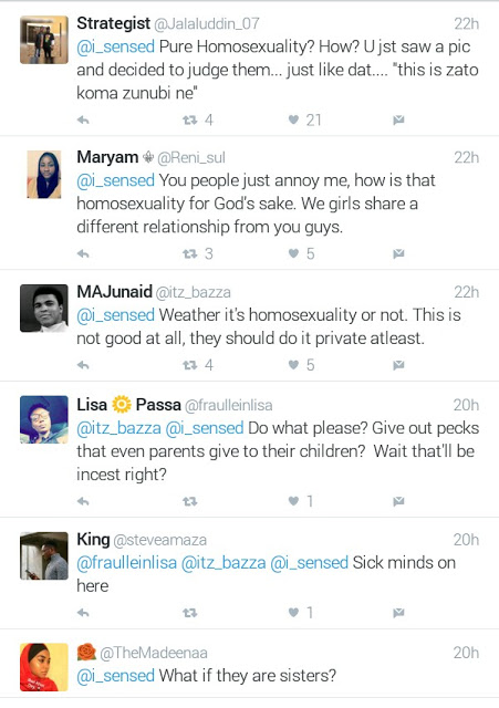 """Photo of young girl giving another girl a peck on the cheek is """"pure homosexuality"""" says Nigerian Muslim man"""