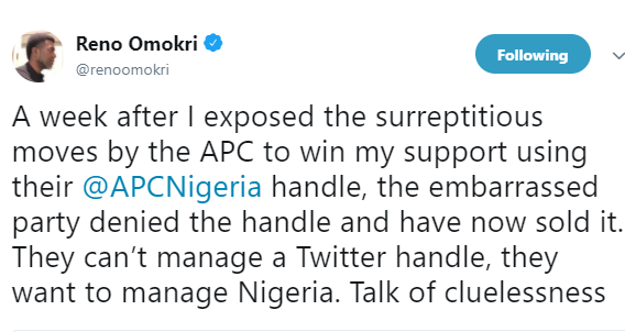 APC can?t manage a twitter handle, they want to manage Nigeria, talk of cluelessness - Reno Omokri