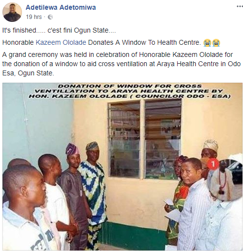 TF? Councillor in Ogun state commissions newly installed windows (photo)
