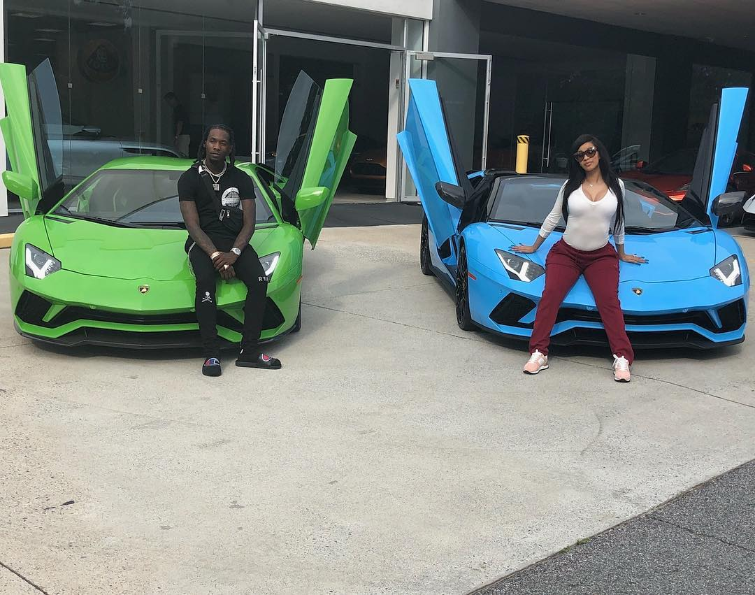 cardi-b-and-offset-show-off-their-lamborghinis-on-instagram