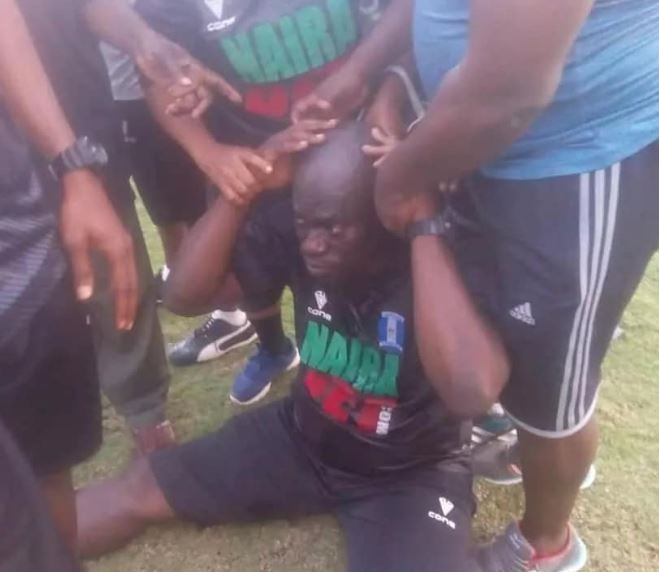 Photos: Nigerian league coach,?Agoye Olumide faints after being punched by a player in Uyo