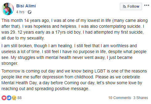 Bisi Alimi talks about his first suicide attempt at the age of 17