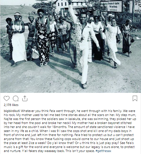 Seun Kuti recounts how his family suffered in the hands of Nigerian soldiers because of his father