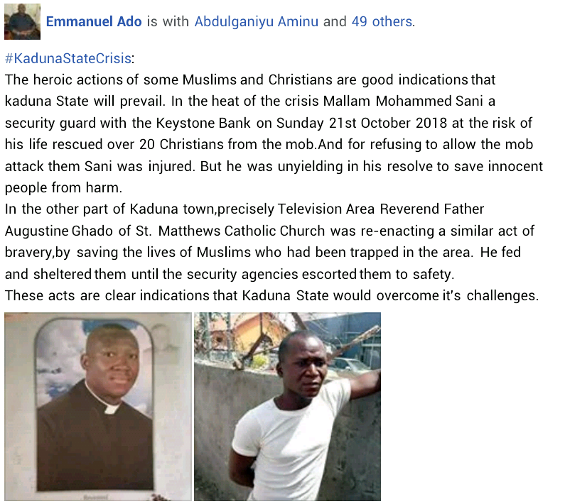 Kaduna Crisis: Meet Muslim security guard and Catholic priest who risked their lives to save Christians and Muslims from mob attack