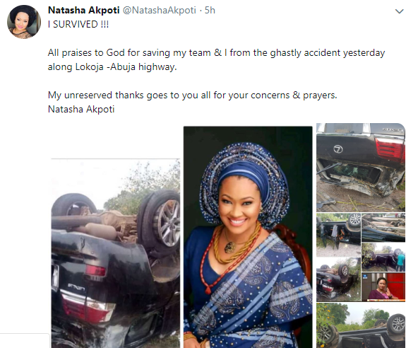 Nigerian politician, Natasha Akpoti miraculously survives a ghastly road accident (photos)