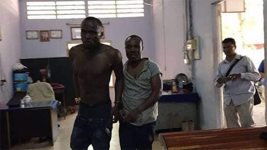 Photos: Two Nigerian men arrested in Cambodia for fighting on the street