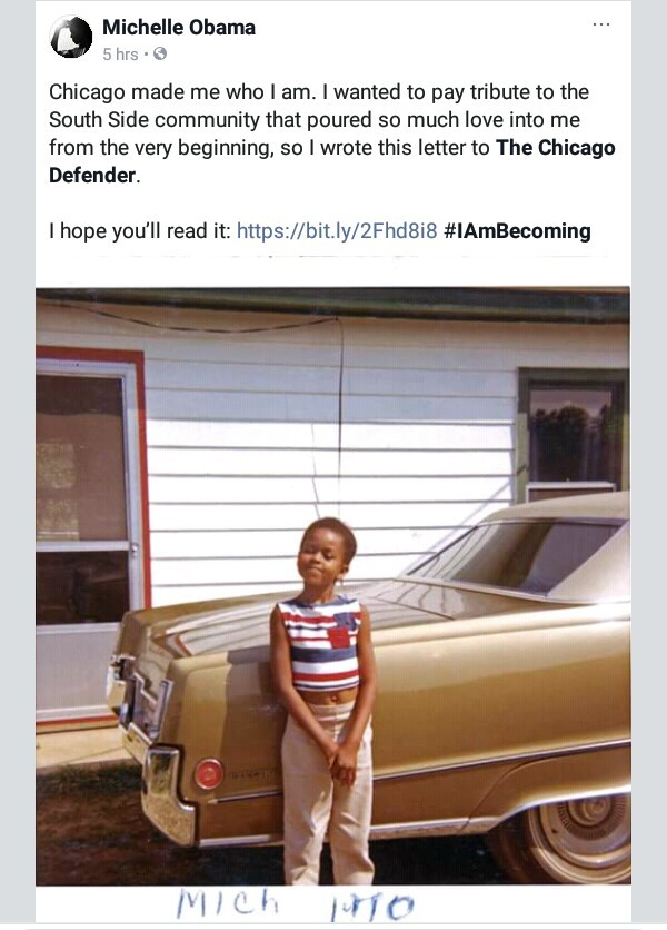 """Chicago made me who I am"" - Michelle Obama shares adorable childhood photo as she pays tribute to the South Side community"