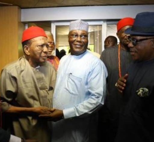 Touching moment?Prof. Ben Nwabueze almost cried when he met Atiku?in Enugu today