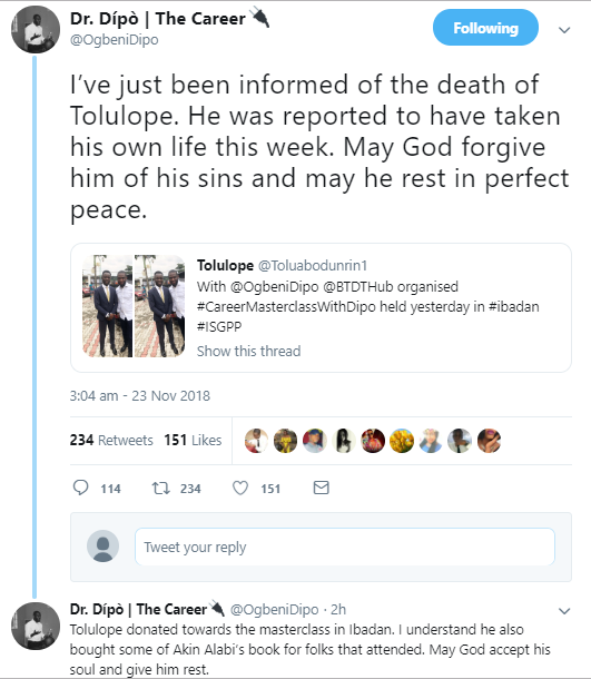 Young Nigerian man allegedly commits suicide after suffering depression