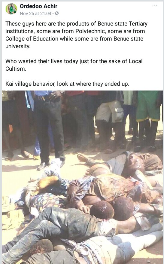 Photos: 13 suspected cultists hacked to death by angry youths in Benue for killing commercial motorcyclist