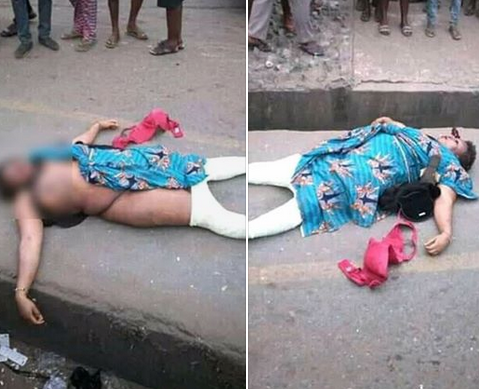 Graphic: Unidentified woman murdered in Onitsha; pigeon and coins found on her corpse