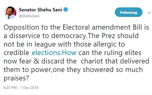 Opposition to the Electoral amendment Bill is a disservice to democracy - Senator Shehu Sani calls out President Buhari