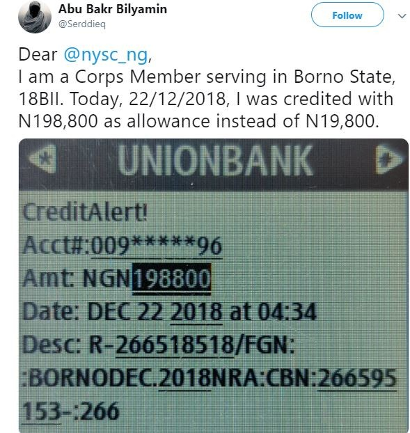Honest Corp member reports to NYSC after he was credited N198,800 instead of his normal N19,800 allawee