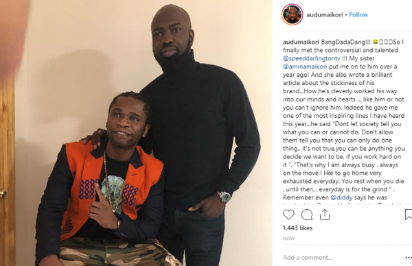 Audu Maikori writes about encounter with Speed Darlington, signs him to Chocolate City lailasnews