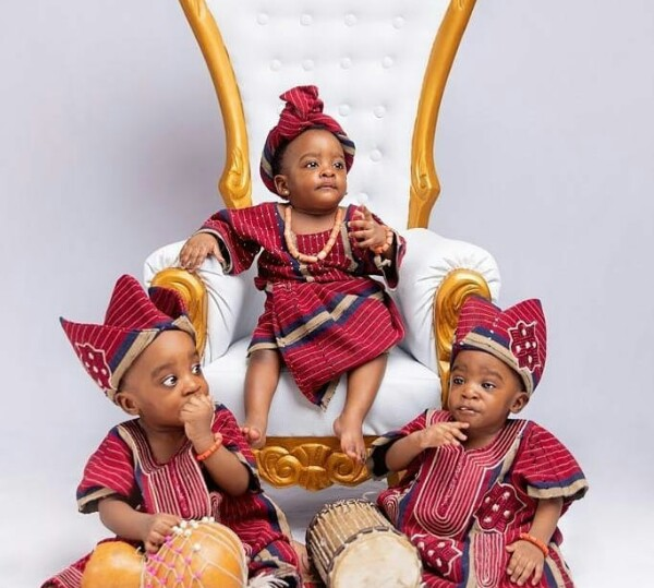 Nigerian woman who welcomed triplets after 6 years of waiting shares adorable photos as they turn one