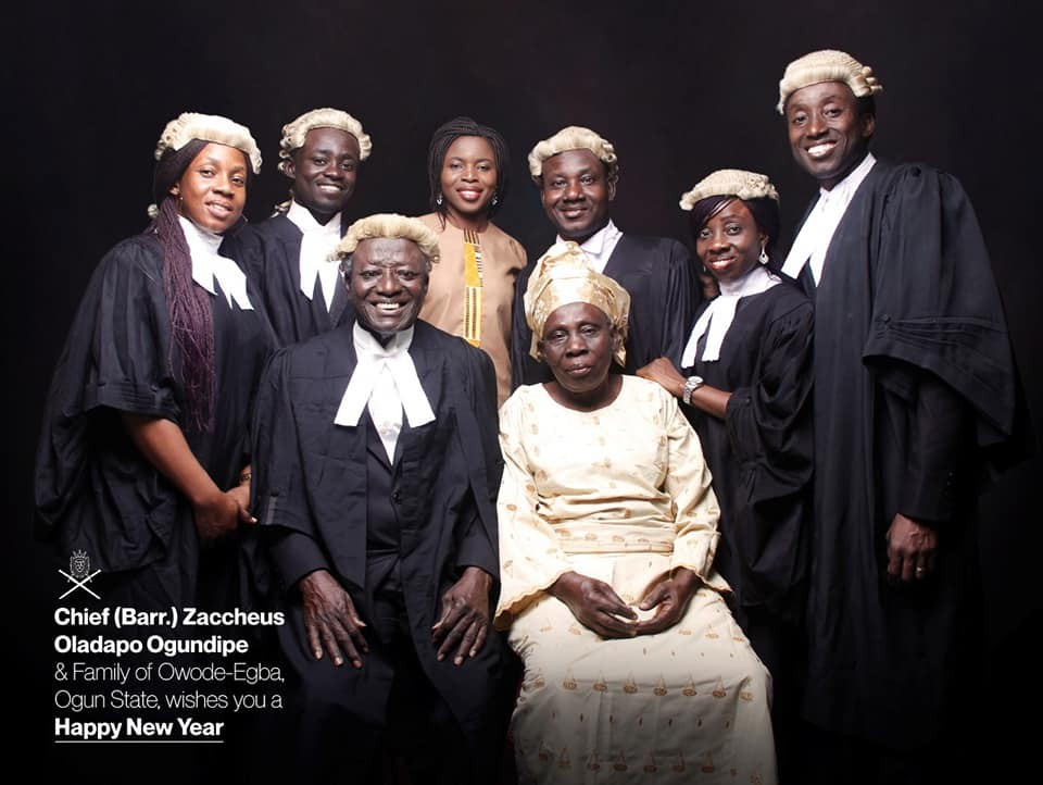 Lovely photo of a Nigerian dad whose seven children are all lawyers