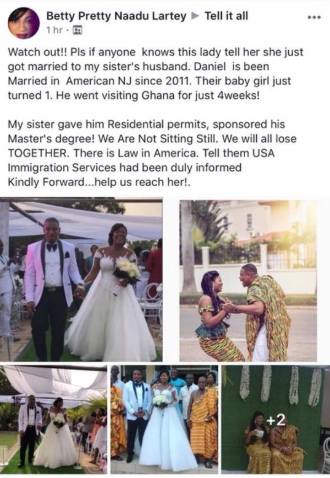 """Please if anybody knows this lady, tell her she just got married to my sister"