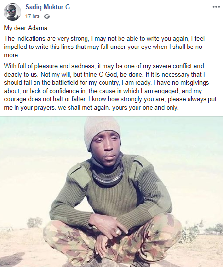Nigerian soldier warms the hearts of many with the way he used his bullets to profess his love for his wife, Adama