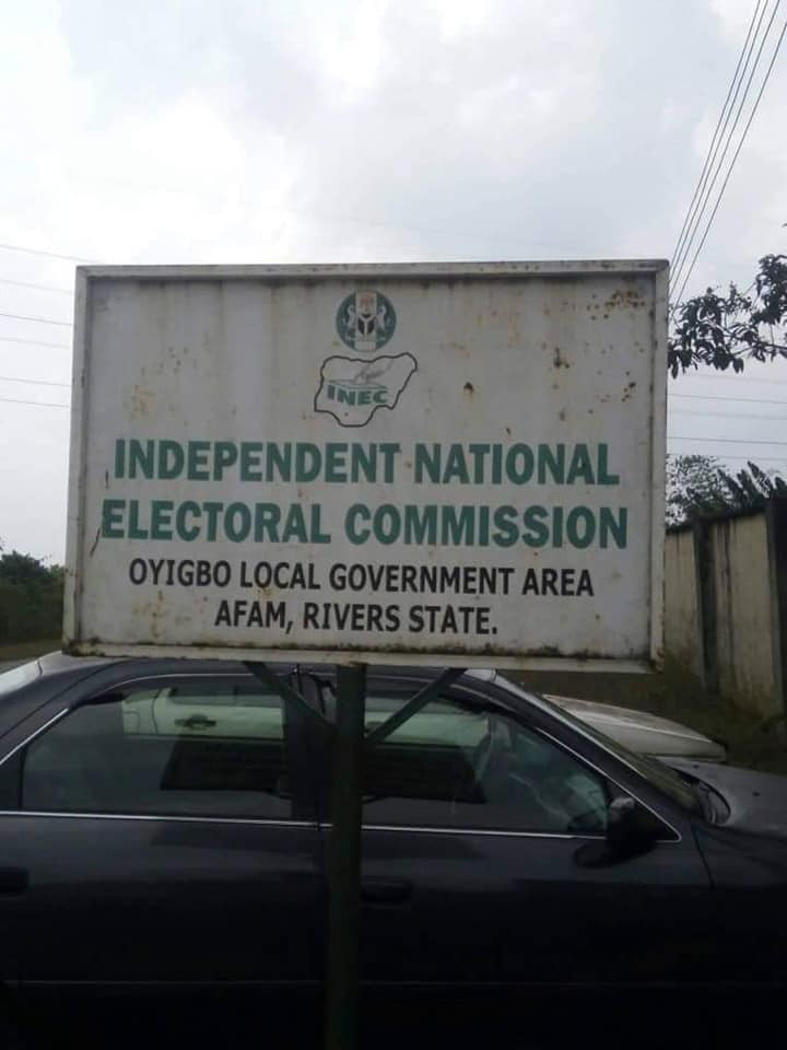 Photos: INEC office set ablaze in Rivers state