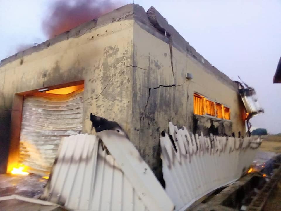 Photos: INEC office in Plateau set ablaze by drunk security officer, PVCs and other items burnt