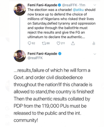 Elections: Atiku should form his own government and order civil disobedience if FG doesn