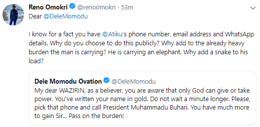 Reno Omokri calls out Dele Momodu over his tweet asking Atiku to concede defeat and call Buhari