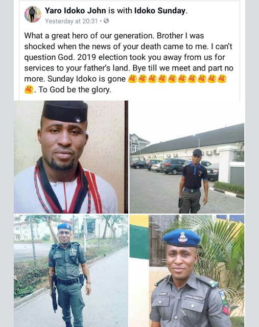 Photos: Friends of policeman killed while escorting election results to collation centre in Ogun state, mourn him