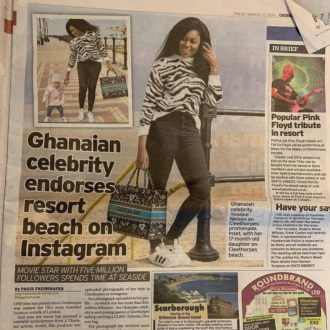 Latest News In Nigeria: Yvonne Nelson Appears In UK Newspaper Over Latest Photo