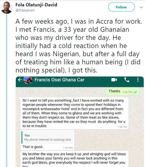Ghanaian driver opens up to Nigerian man about Nigerians and how they treat Ghanaians