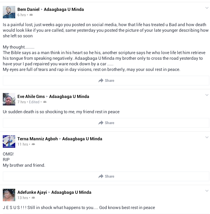 Photos: Man killed in accident in Makurdi 15 hours after he shared a post on Facebook to mark 3rd anniversary of his little sister