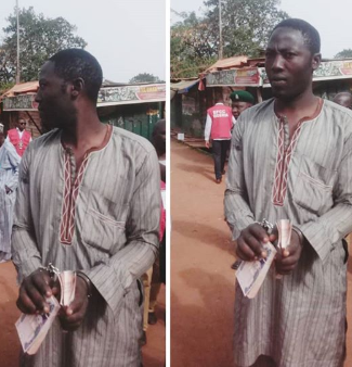 Photos: Man arrested for Vote buying at a polling unit in Kwara