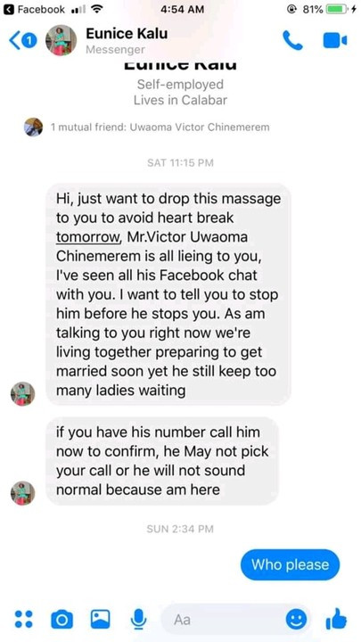 Soldier exposes married man who has been professing love for her on Facebook