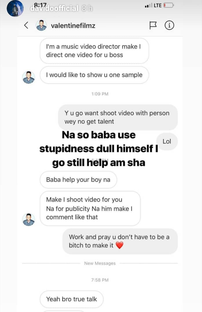 Davido calls out music director who called him talentless sometime back but is now begging to work with him