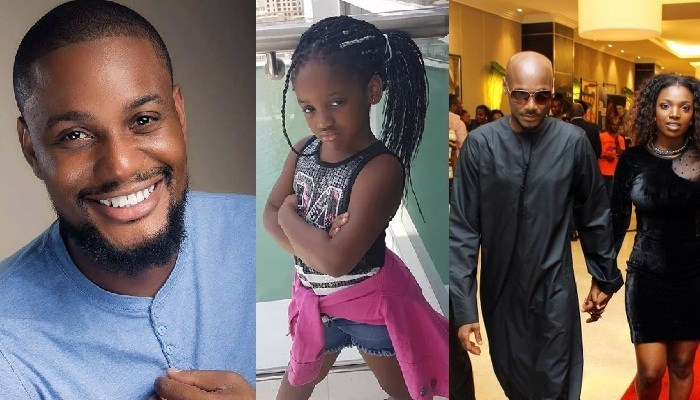 Image result for Moment 2baba Idibia daughter stopped her mom, Annie from calling Alex Ekubo assistant husband (video)