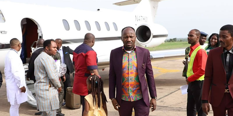 Image result for Church members cheer as Apostle Suleman acquires private jet
