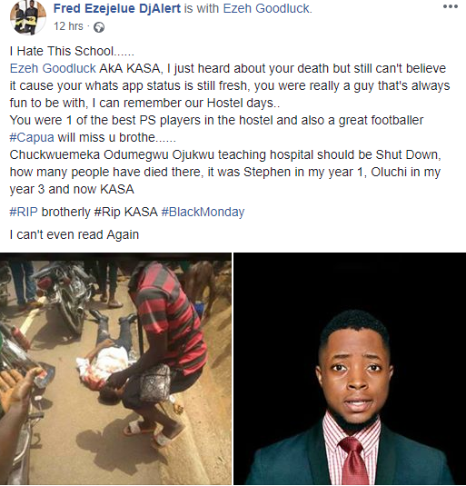 COOU Law student dies in accident after he was sent out to get a haircut before sitting for his exams. See his last post (graphic photos)