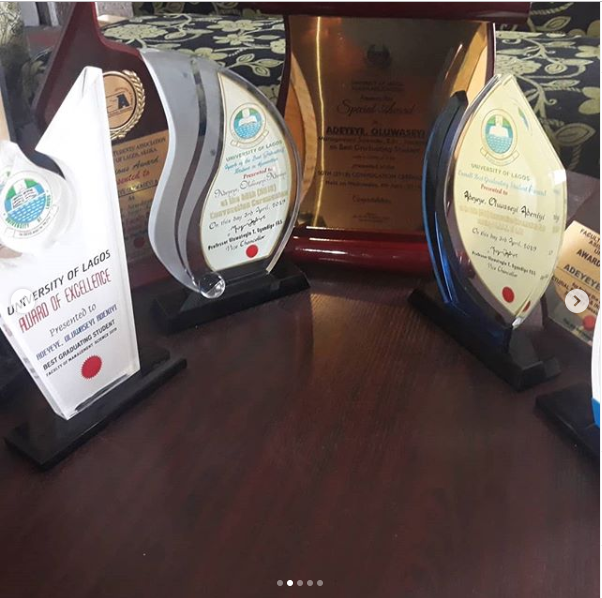 UNILAG student emerges as the best graduating student 4-years after writing it down as his goal (Photos)