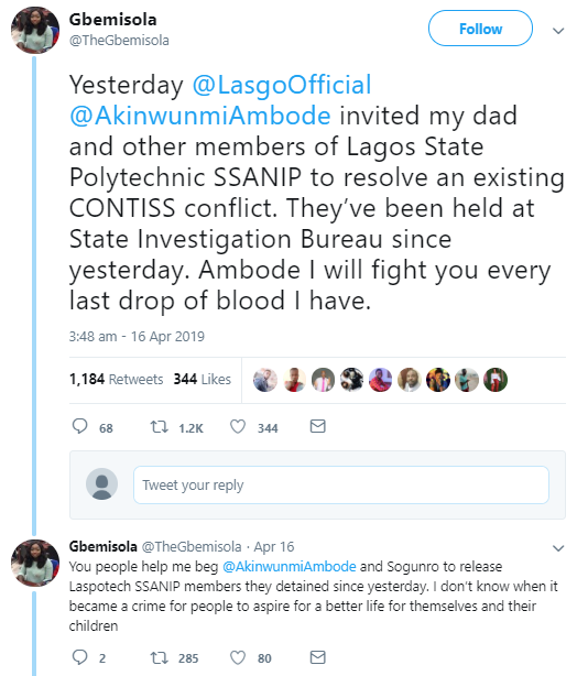 """""""Ambode I will fight you with every last drop of blood I have"""" Woman threatens as her father and his colleagues are detained by the state government"""
