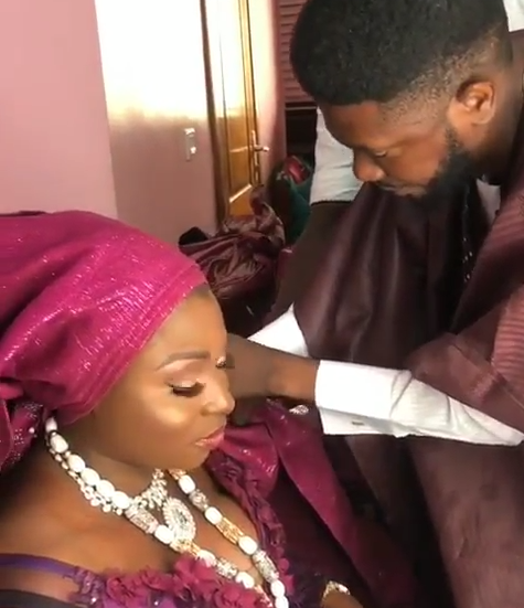Lovely video of Nigerian man tying the headgear of his fiancee on their traditional wedding day
