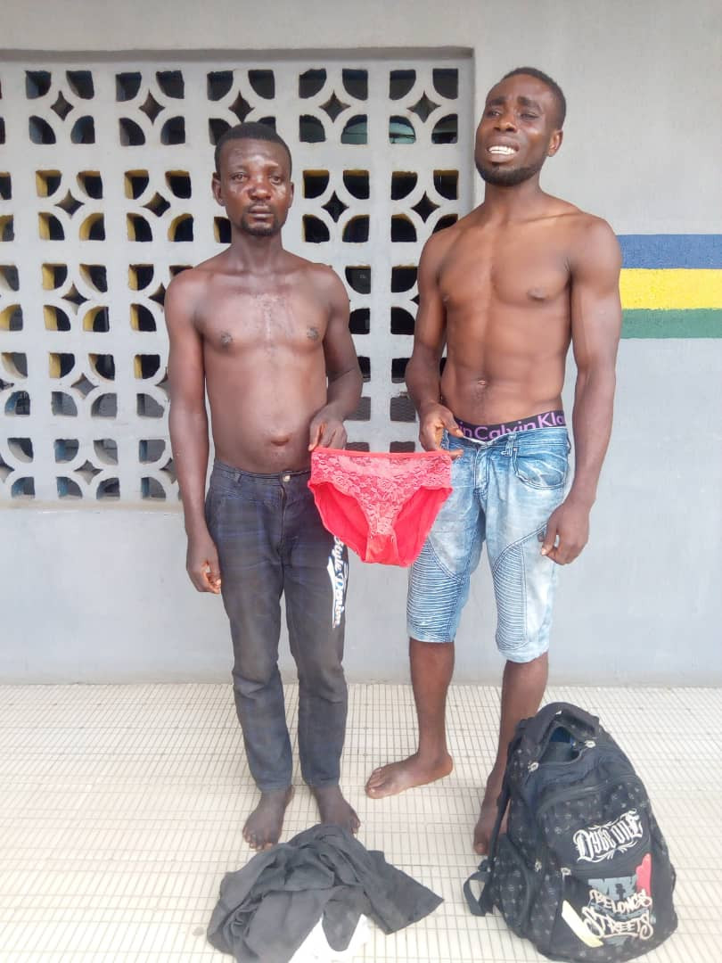 Two arrested for stealing female pant in Lagos (photo)