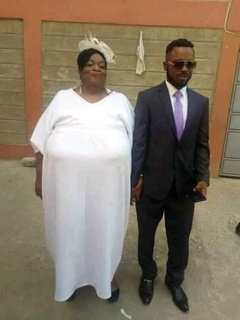 Wedding photos of a young man and his older wife with gigantic boobs, has got people talking