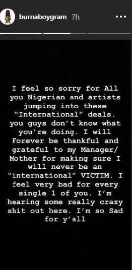 Burna Boy Says 'International Deals' Are Toxic For Nigerian Artists