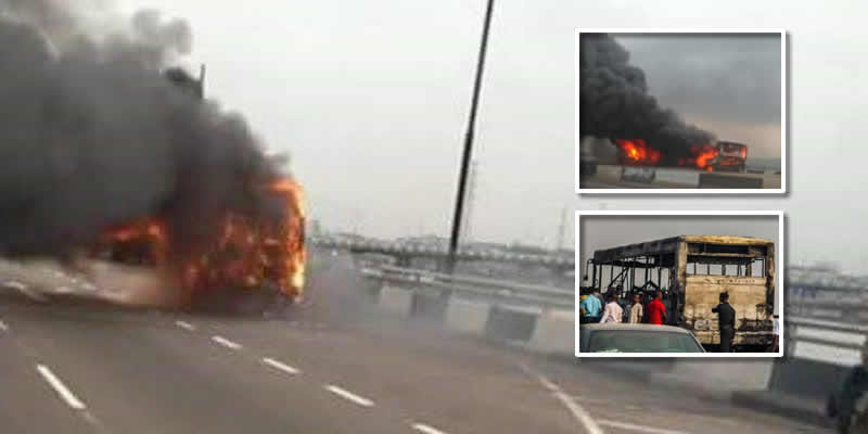 BRT bus burns on Third Mainland Bridge