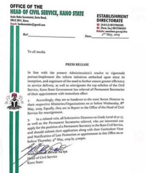 Breaking:?Kano State Government sacks all permanent secretaries