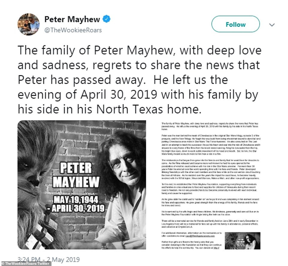 Star Wars actor, Peter Mayhew dies at 74