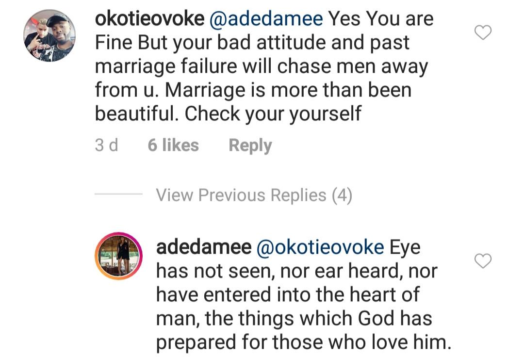 Damilola Adegbite replies trolls who warned her beauty isn
