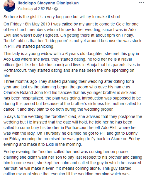 Woman claims she was scammed by a man who pretended to be a Naval officer, promised her marriage, only to dupe her and not show up on the wedding day