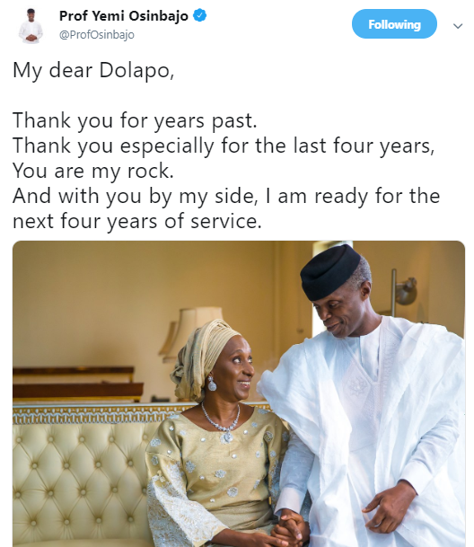 With you by my side, I?m ready for the next 4 years ? VP Yemi Osinbajo tells wife